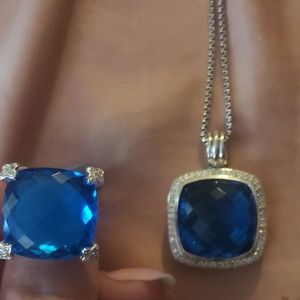 David Yurman Blue Topaz ring and necklace set